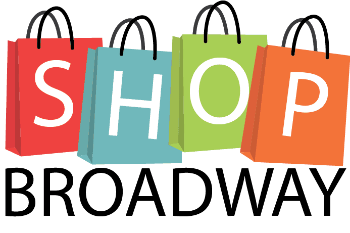 Shop Broadway flyer with colorful shopping bags