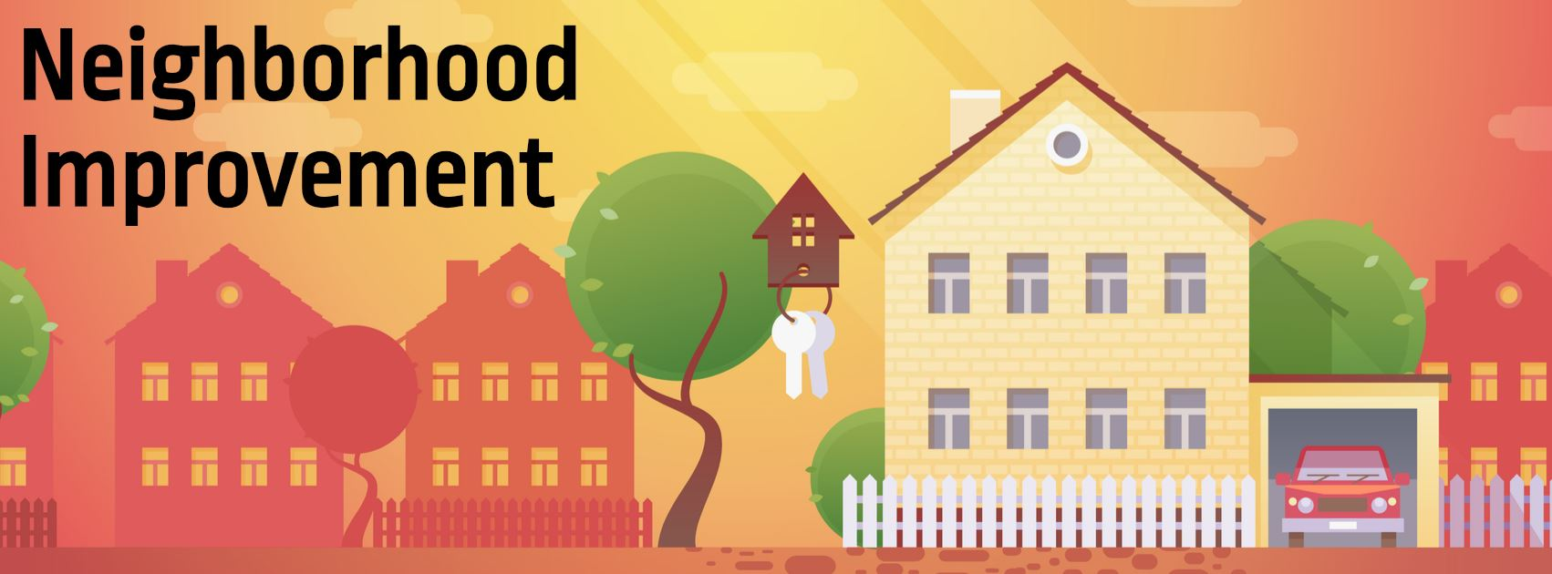 Neighborhood Improvement Program Committee graphic with images of houses