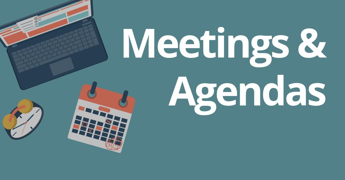 Meetings and Agendas graphic of sign up sheets and calendar