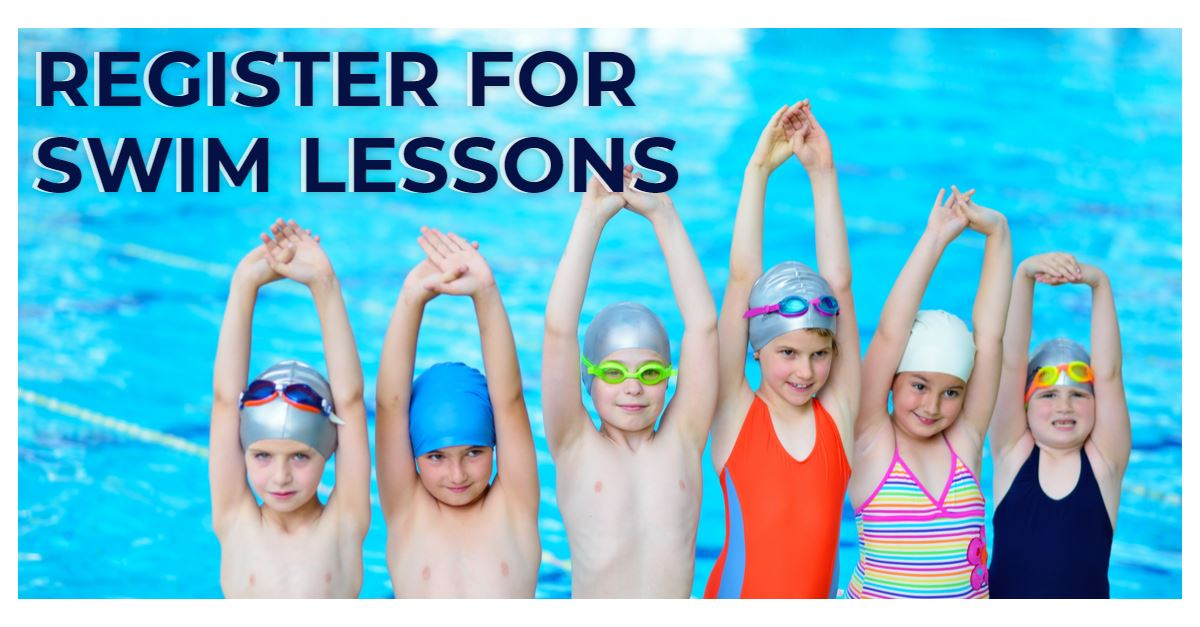 """Register for Swim Lessons"" banner with image of kids at pool"