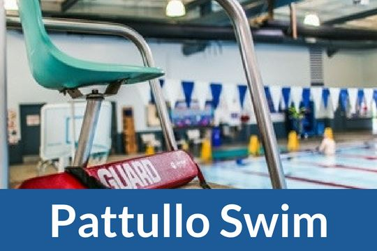 """Pattullo Swim"" graphic icon with image of pool"