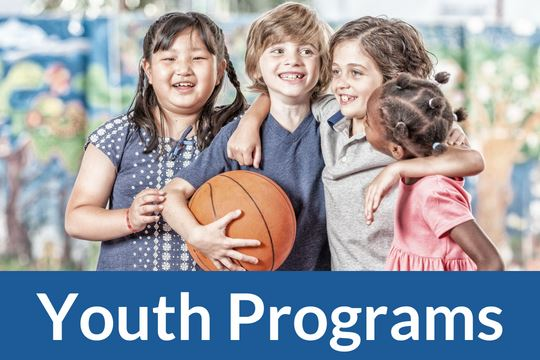 """Youth Program"" graphic icon with photo of children with a basketball"